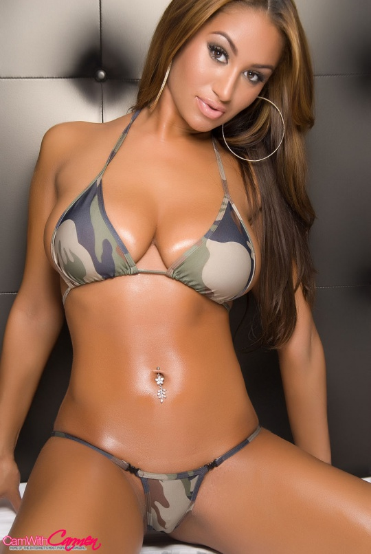 Cam With Carmen in a Camo bikini