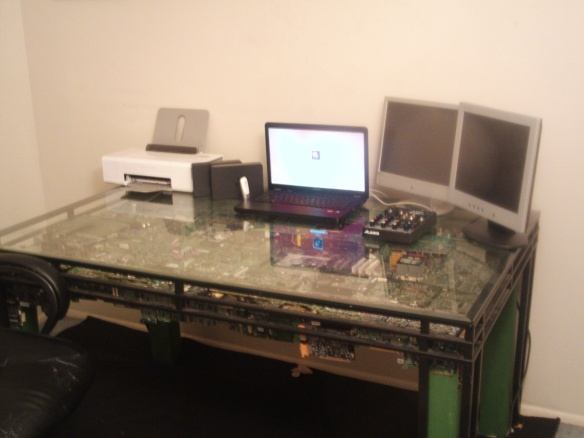 finished circuit board computer desk